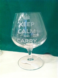 Keep Calm and Carry Brandy Glass