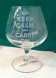 Keep Calm and Carry On Brandy Glass
