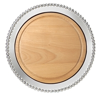 Pearled Round Platter with Wood Insert by Mariposa
