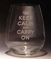 Keep Calm and Carry On Stemless Wine Glass