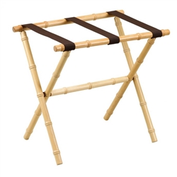 Natural Bamboo Inspired Wood Luggage Rack  by Gatehouse Furniture