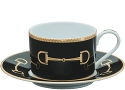 Cheval Black Cup and Saucer by Julie Wear