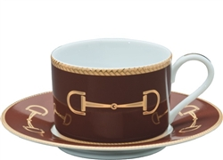 Cheval Chestnut Brown Cup and Saucer by Julie Wear