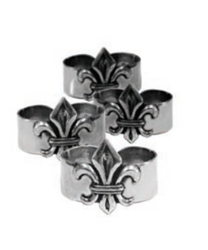 Fleur-de-Lis Napkin Rings (Set of 4) by Salisbury Pewter