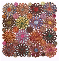 Pink Patchwork Daisy Square Placemat by Deborah Rhodes