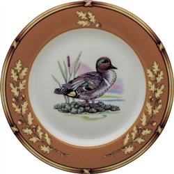"American Wildlife Green Wing Teal Salad Plate (8"") by Julie Wear"