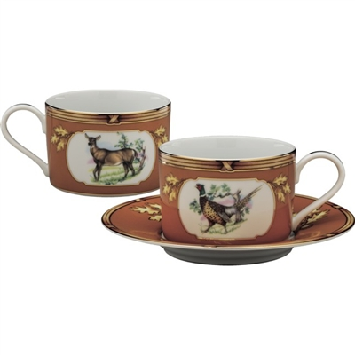 American Wildlife Pheasant and Doe Cup and Saucer by Julie Wear