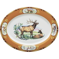 "American Wildlife Elk Pair Platter (14.25"") by Julie Wear"