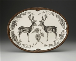 Deer Small Oval Platter (Fallow Buck) by Laura Zindel Design