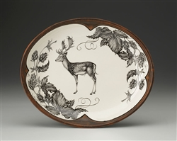 Deer Small Serving Dish (Fallow Buck and Hops) by Laura Zindel Design
