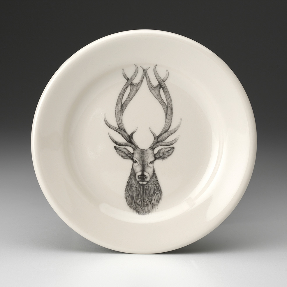 laura zindel design - red stag deer salad plate