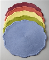 "16"" Round Scallop Placemat Denim by Deborah Rhodes"