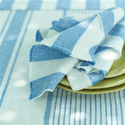 Philippe Linen Napkin (White/Blue) by Linen Me