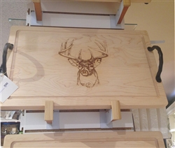 "24"" Rectangle Wood Cutting Board with Front Facing Deer by Maple Leaf at Home"
