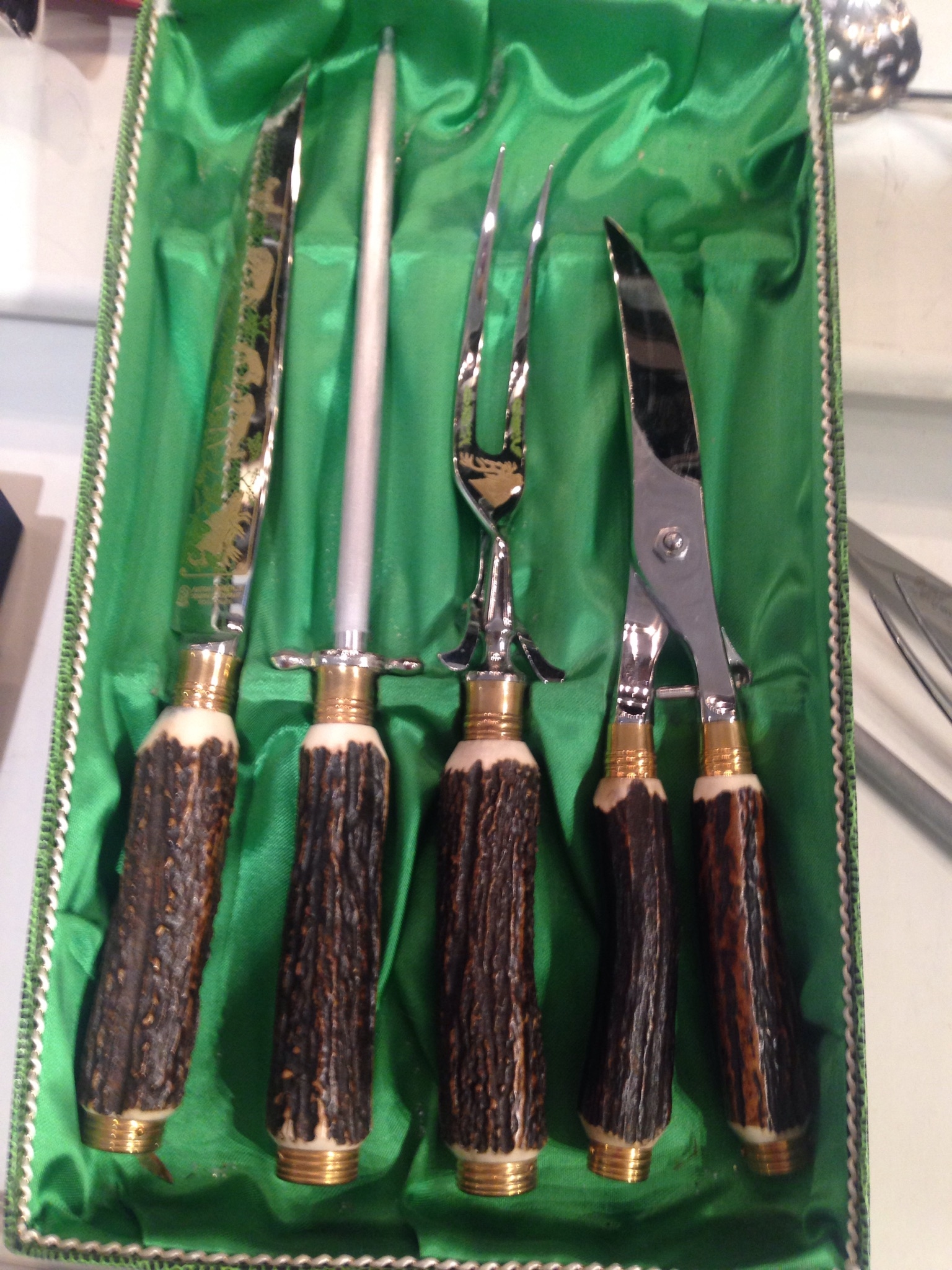 4 Piece Antique Solingen Germany Carving Set With Box