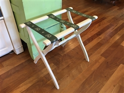 Ivory Luggage Rack with Green Straps by Gatehouse Furniture