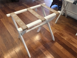 Ivory Luggage Rack with Tan Straps by Gatehouse Furniture