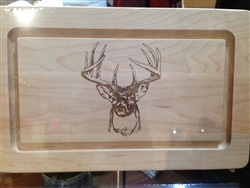 "13"" Rectangle Wood Cutting Board with Front Facing Stag by Maple Leaf at Home"