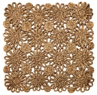 Taupe Patchwork Daisy Square Placemat by Deborah Rhodes