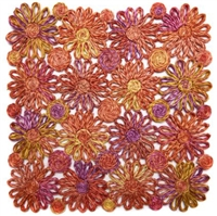 Coral Patchwork Daisy Square Placemat by Deborah Rhodes