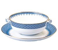 Blue Lace Cream Soup and Saucer by Mottahedeh