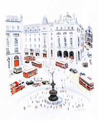 Buses in Piccadilly Circus - Dominique Corbasson by Tiger Flower Studio