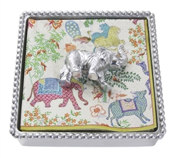 Elephant Beaded Napkin Box by Mariposa