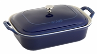 Ceramic Rectangular Covered Baking Dish Dark Blue by Staub