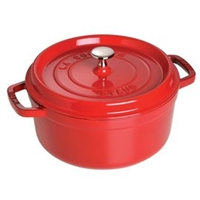 Cast Iron 9-qt Round Cocotte - Cherry by Staub