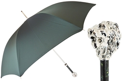 Green Umbrella with Silver Lion Handle by Pasotti