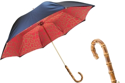 Black Umbrella with Red Giraffe Print Interior by Pasotti