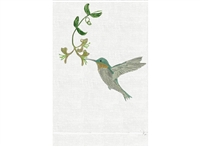 Anali - Blue Hummingbird on Terry Guest Towel