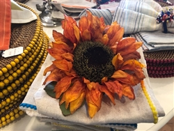 Antique Orange Sunflower Napkin Rings by Deborah Rhodes