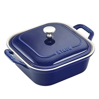 Ceramic Square Covered Baking Dish Dark Blue by Staub
