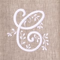 Monogram Meadow Hand Towel on Natural Linen by Henry Handwork