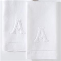 Monogram Nouveau French Knot Hand Towel by Henry Handwork