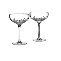 Lismore Essence Pair of Coupe Champagne Glasses by Waterford Crystal
