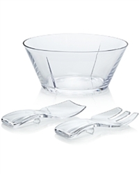 Clear Salad Bowl with Servers by Mario Luca Giusti