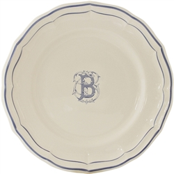 "Filet Bleu ""B"" Dessert Plate by Gien France"