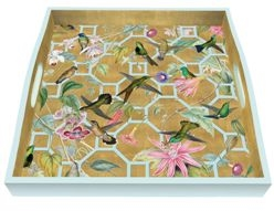 Hummingbird Trellis Gold Square Tray by Caspari