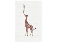 Anali - Jungle Giraffe on White Linen Guest Towel