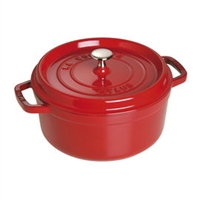 Cast Iron 4-qt Round Cocotte - Cherry by Staub