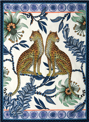 Lovebird Leopards Tanzanite Tea Towel by Ardmore