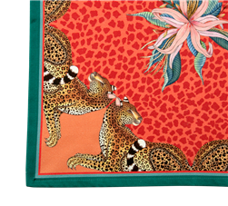 Pair of Leopard Lily Napkins in Coral by Ardmore