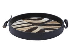 Leather Round Zebra Inlay Tray by Ngala Trading Co.