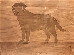 "14"" Square Wood Cutting Board With Labrador by Maple Leaf at Home"