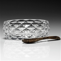 Amber Salt Dish and Spoon by William Yeoward Crystal