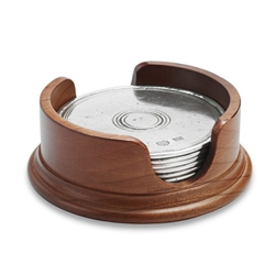 Round Coasters with Wood Base (Set of 6) by Match Pewter