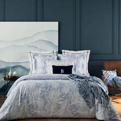 Abri Blue Quilted Coverlet by Yves Delorme
