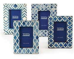 Blue and White Mosaic Frame  by Two's Company